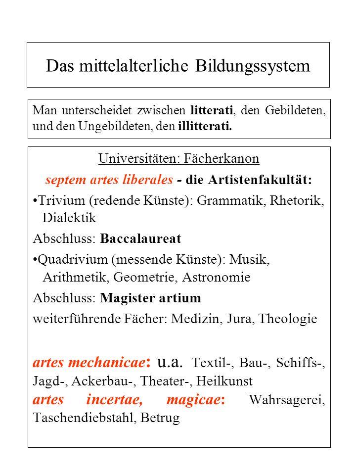 Das mittelalterliche Bildungssystem Man unterscheidet zwischen litterati, den Gebildeten, und den Ungebildeten, den illitterati. Universitäten: Fächer
