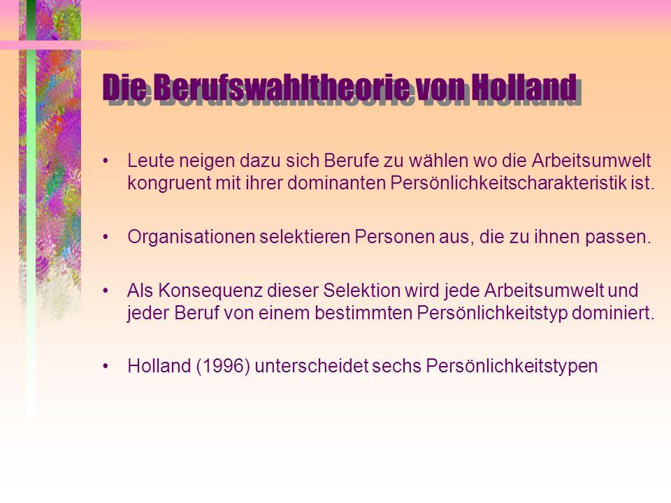 Die Berufswahltheorie von Holland Leute neigen dazu sich Berufe zu wählen wo die Arbeitsumwelt kongruent mit ihrer dominanten Persönlichkeitscharakter