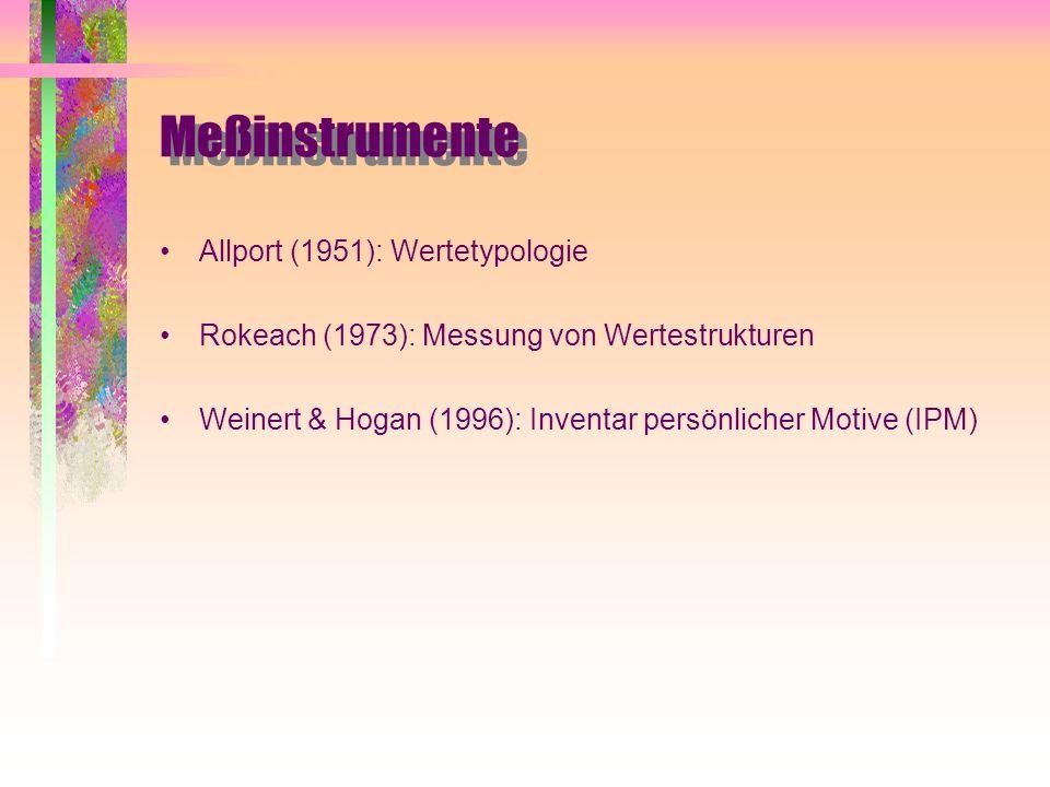 Meßinstrumente Allport (1951): Wertetypologie Rokeach (1973): Messung von Wertestrukturen Weinert & Hogan (1996): Inventar persönlicher Motive (IPM)