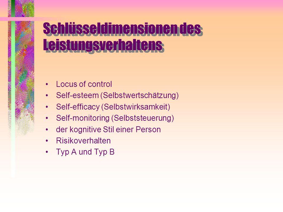 Schlüsseldimensionen des Leistungsverhaltens Locus of control Self-esteem (Selbstwertschätzung) Self-efficacy (Selbstwirksamkeit) Self-monitoring (Sel
