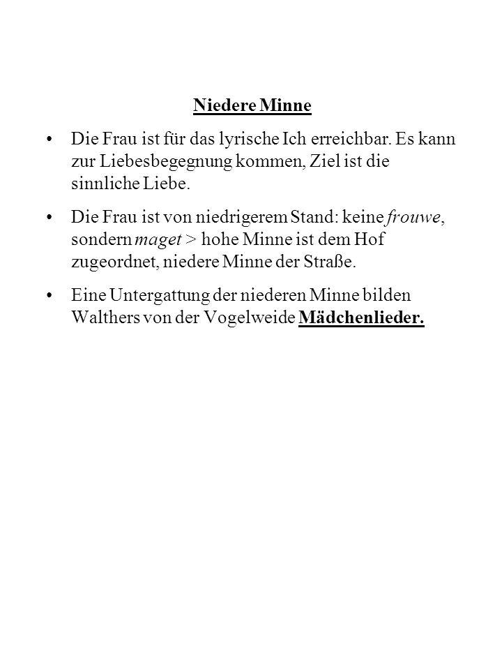 Die Kanzone Wichtige mittelhochdeutsche Termini: wort = Text wîse = Melodie dôn = Bauform + Melodie einer Strophe daz liet = Bezeichnung für Strophe diu liet = Strophengruppe Kanzone (lat.
