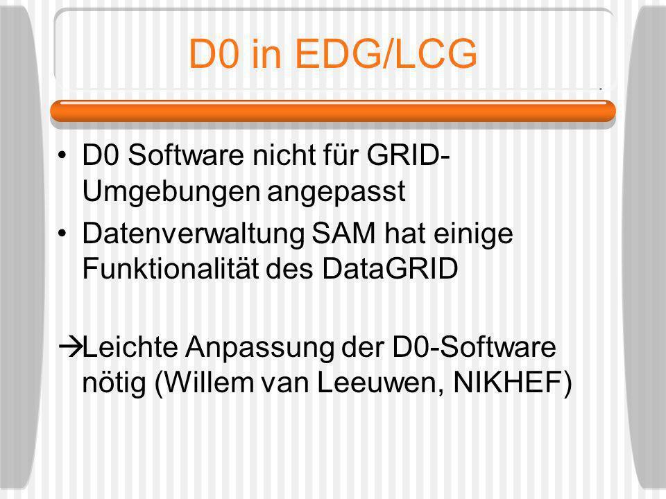 D0 in EDG/LCG D0 Software nicht für GRID- Umgebungen angepasst Datenverwaltung SAM hat einige Funktionalität des DataGRID Leichte Anpassung der D0-Sof
