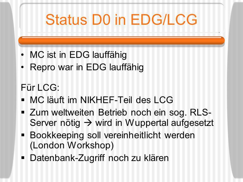 Status D0 in EDG/LCG MC ist in EDG lauffähig Repro war in EDG lauffähig Für LCG: MC läuft im NIKHEF-Teil des LCG Zum weltweiten Betrieb noch ein sog.