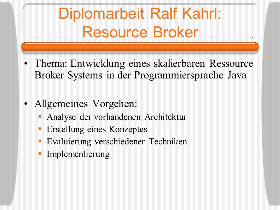 Diplomarbeit Ralf Kahrl: Resource Broker Thema: Entwicklung eines skalierbaren Ressource Broker Systems in der Programmiersprache Java Allgemeines Vor