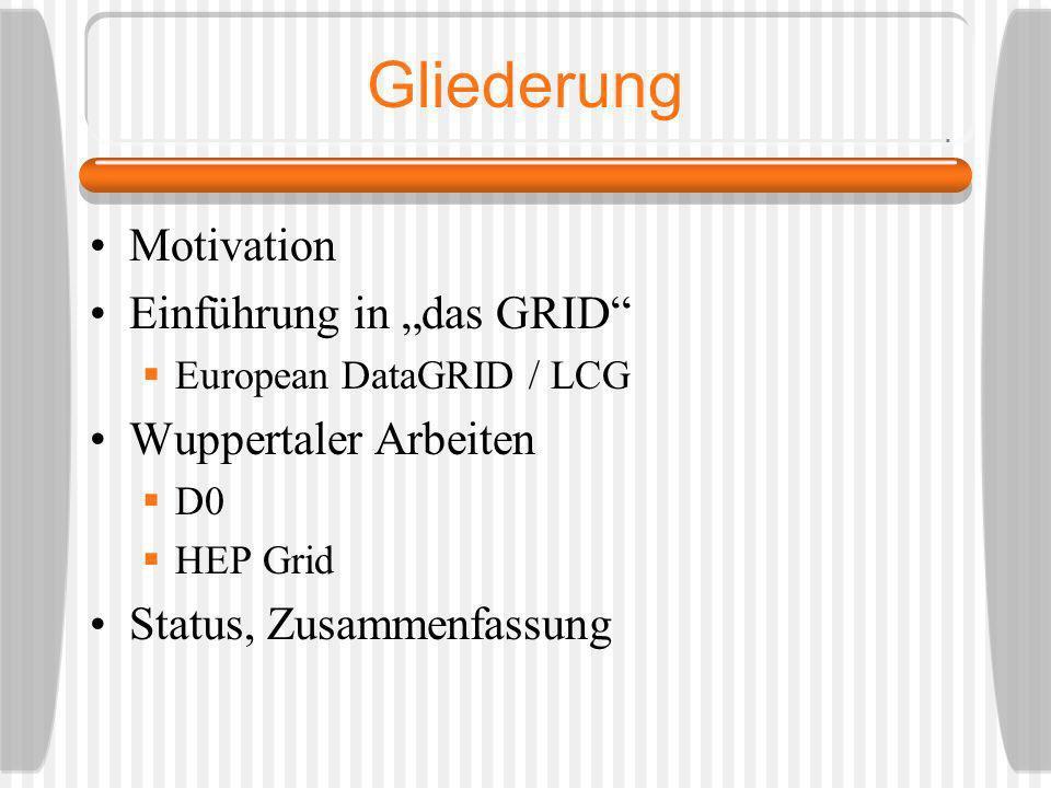 Gliederung Motivation Einführung in das GRID European DataGRID / LCG Wuppertaler Arbeiten D0 HEP Grid Status, Zusammenfassung
