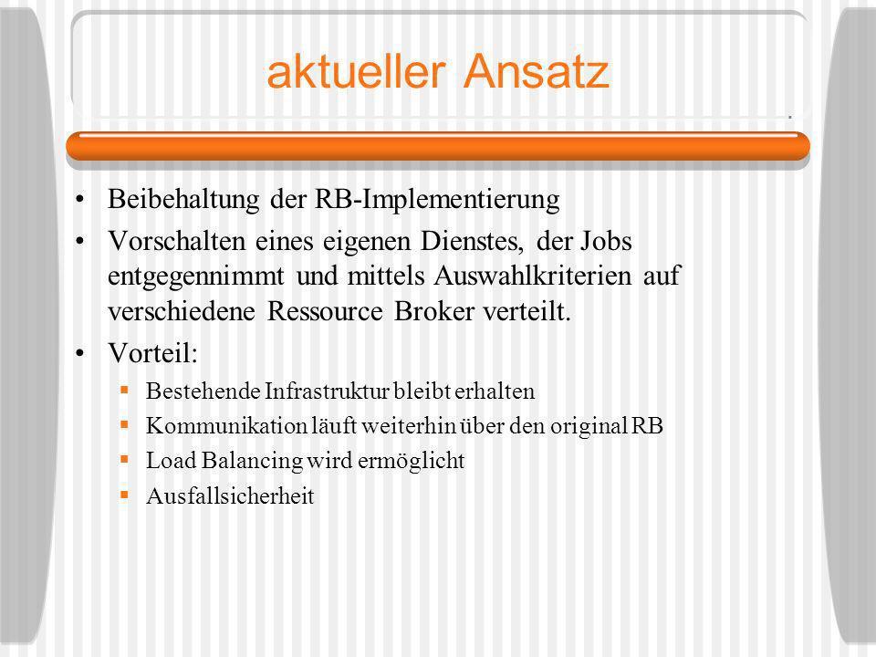 aktueller Ansatz Beibehaltung der RB-Implementierung Vorschalten eines eigenen Dienstes, der Jobs entgegennimmt und mittels Auswahlkriterien auf versc