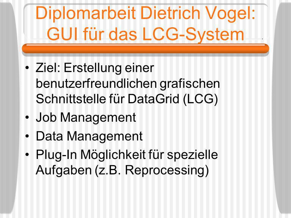 Diplomarbeit Dietrich Vogel: GUI für das LCG-System Ziel: Erstellung einer benutzerfreundlichen grafischen Schnittstelle für DataGrid (LCG) Job Manage