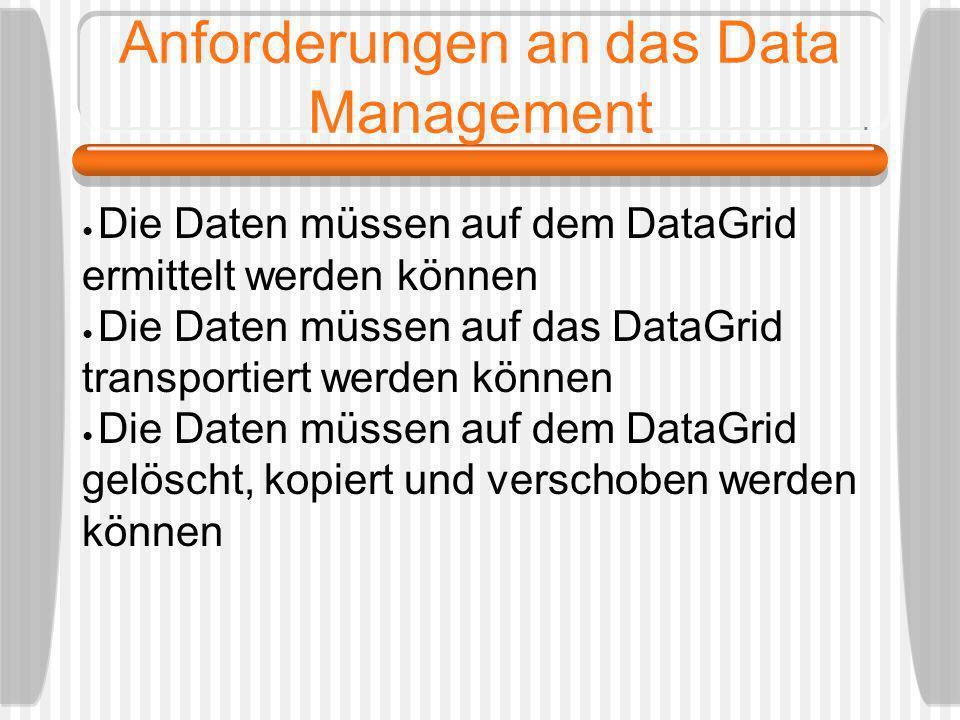Anforderungen an das Data Management Die Daten müssen auf dem DataGrid ermittelt werden können Die Daten müssen auf das DataGrid transportiert werden