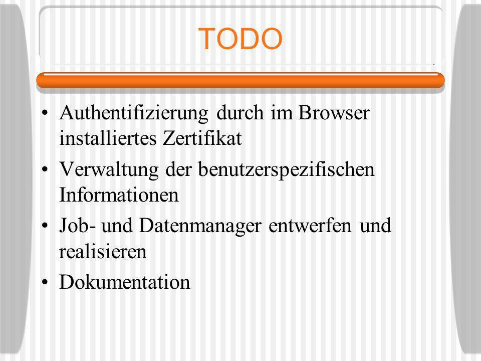 TODO Authentifizierung durch im Browser installiertes Zertifikat Verwaltung der benutzerspezifischen Informationen Job- und Datenmanager entwerfen und