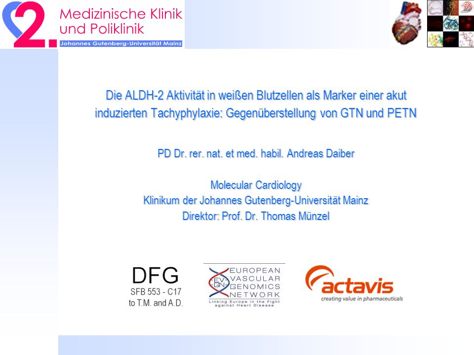 Die mitochondriale Aldehyddehydrogenase (ALDH-2) ist eine Nitroglyzerin Reduktase Chen et al.