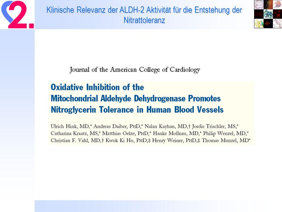 Gefäßfunktion, oxidativer Stress und ALDH Aktivität – Effekte einer chronischen in vivo Behandlung mit Nitroglyzerin Daiber and Wenzel, unpublished