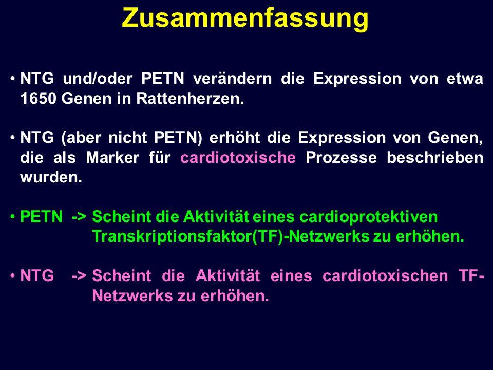 NTG und/oder PETN verändern die Expression von etwa 1650 Genen in Rattenherzen. NTG (aber nicht PETN) erhöht die Expression von Genen, die als Marker