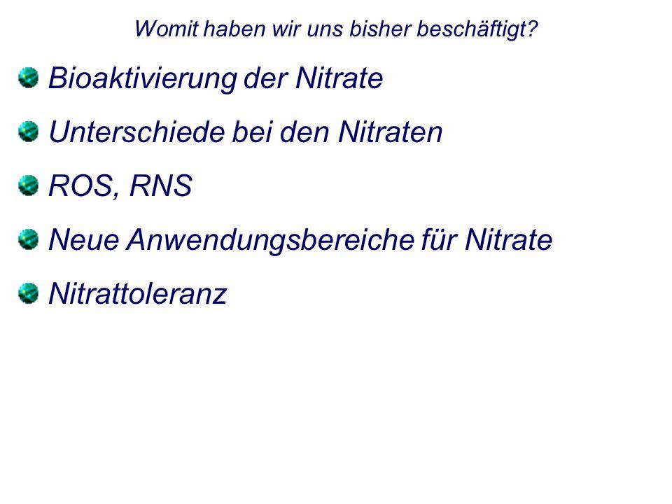 Womit haben wir uns bisher beschäftigt? Bioaktivierung der Nitrate Unterschiede bei den Nitraten ROS, RNS Neue Anwendungsbereiche für Nitrate Nitratto