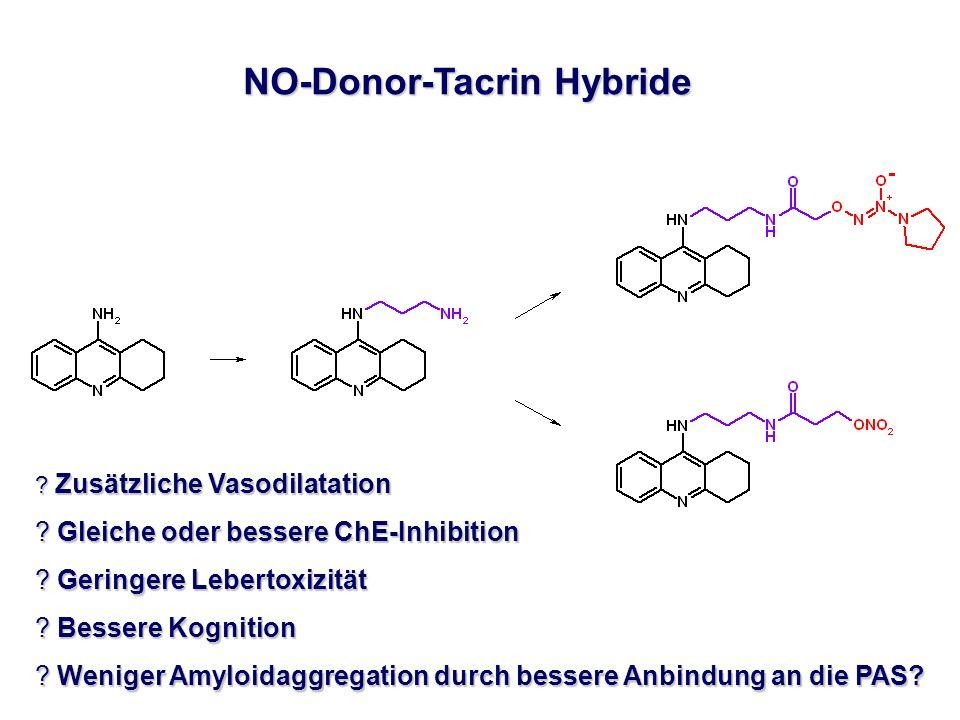 NO-Donor-Tacrin Hybride ? Zusätzliche Vasodilatation ? Gleiche oder bessere ChE-Inhibition ? Geringere Lebertoxizität ? Bessere Kognition ? Weniger Am
