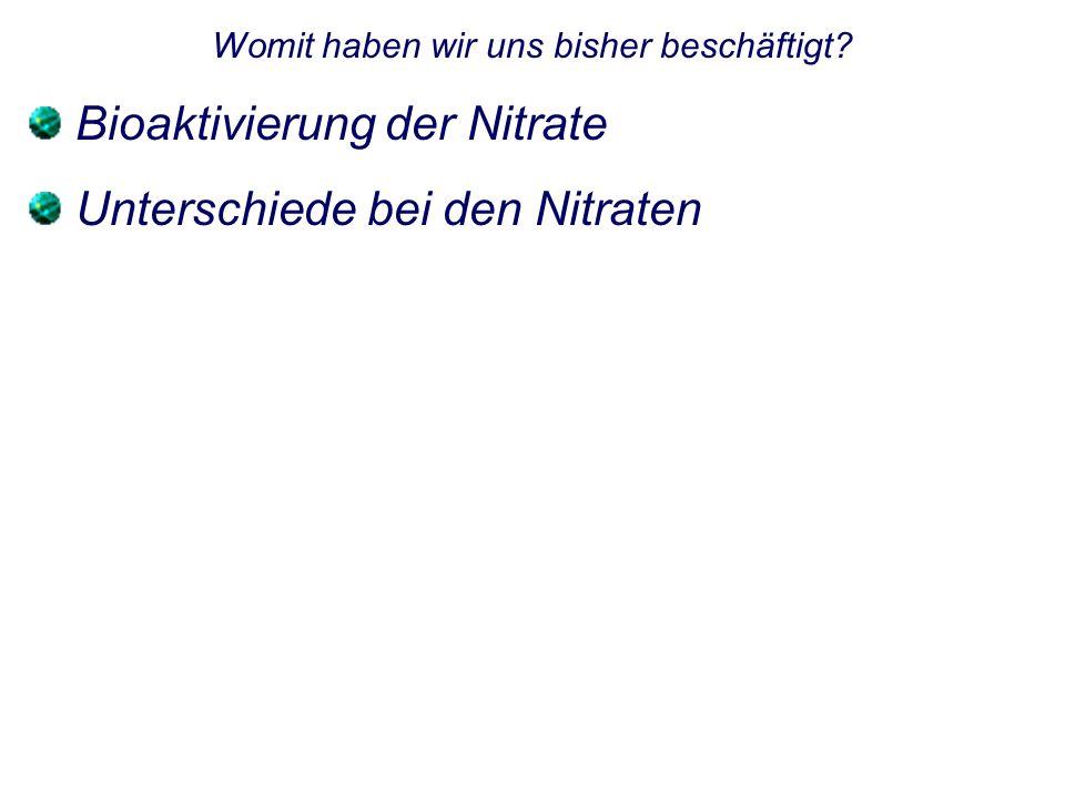 Womit haben wir uns bisher beschäftigt? Bioaktivierung der Nitrate Unterschiede bei den Nitraten