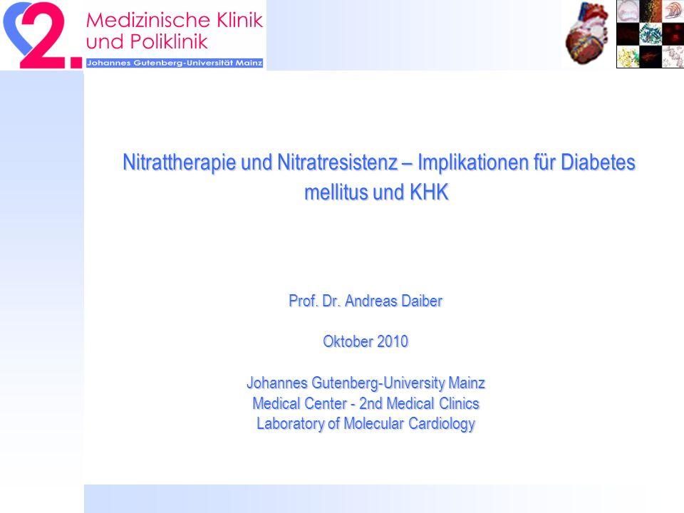 Nitrattherapie und Nitratresistenz – Implikationen für Diabetes mellitus und KHK Nitrattherapie und Nitratresistenz – Implikationen für Diabetes mellitus und KHK Prof.