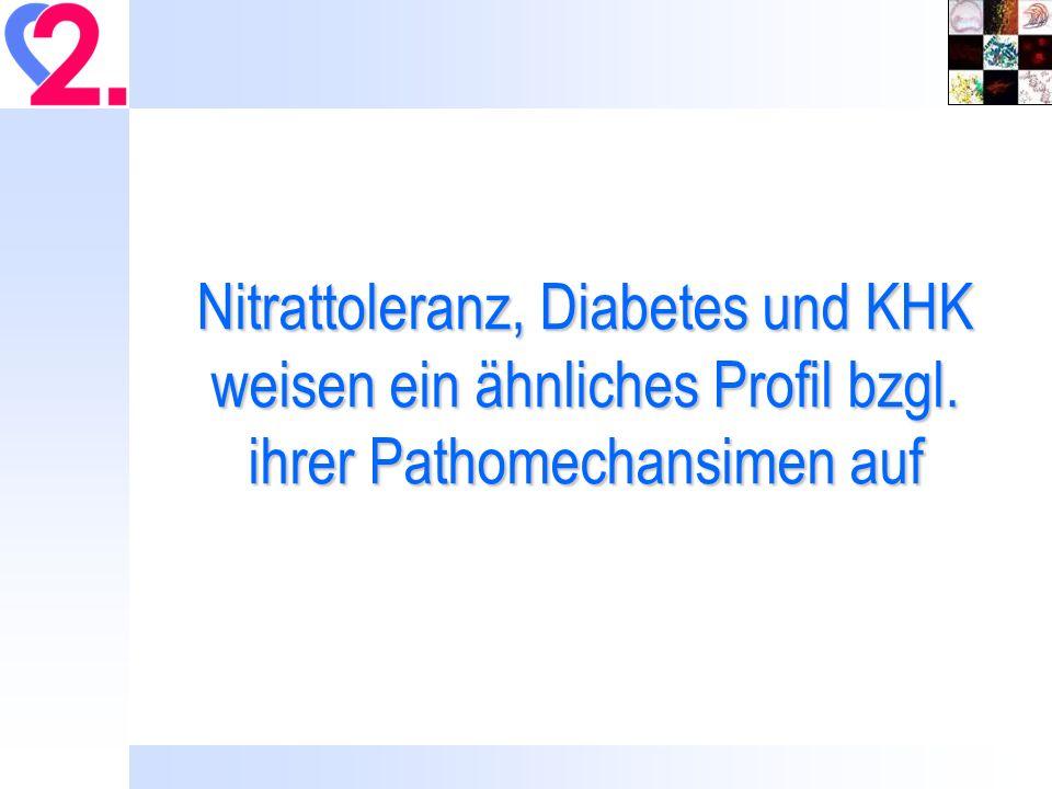 Nitrattoleranz, Diabetes und KHK weisen ein ähnliches Profil bzgl. ihrer Pathomechansimen auf