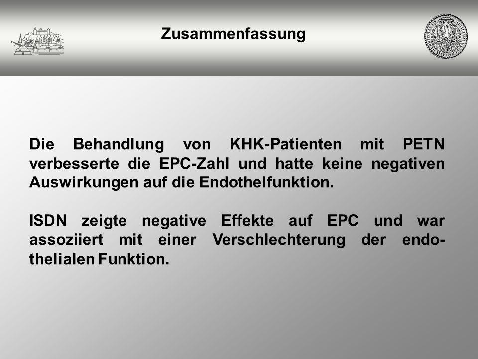 Zusammenfassung Die Behandlung von KHK-Patienten mit PETN verbesserte die EPC-Zahl und hatte keine negativen Auswirkungen auf die Endothelfunktion. IS