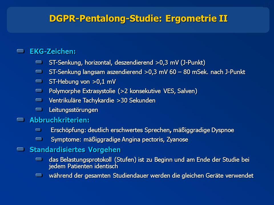 16 DGPR-Pentalong-Studie: Ergometrie II EKG-Zeichen: ST-Senkung, horizontal, deszendierend >0,3 mV (J-Punkt) ST-Senkung langsam aszendierend >0,3 mV 60 – 80 mSek.