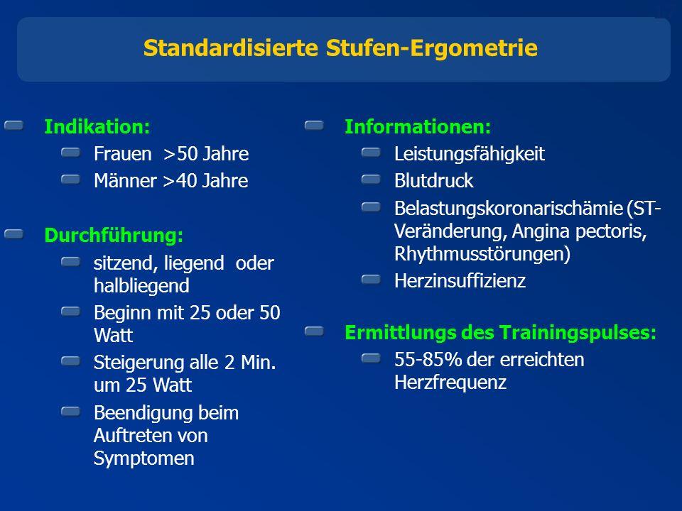 17 Standardisierte Stufen-Ergometrie Indikation: Frauen >50 Jahre Männer >40 Jahre Durchführung: sitzend, liegend oder halbliegend Beginn mit 25 oder 50 Watt Steigerung alle 2 Min.