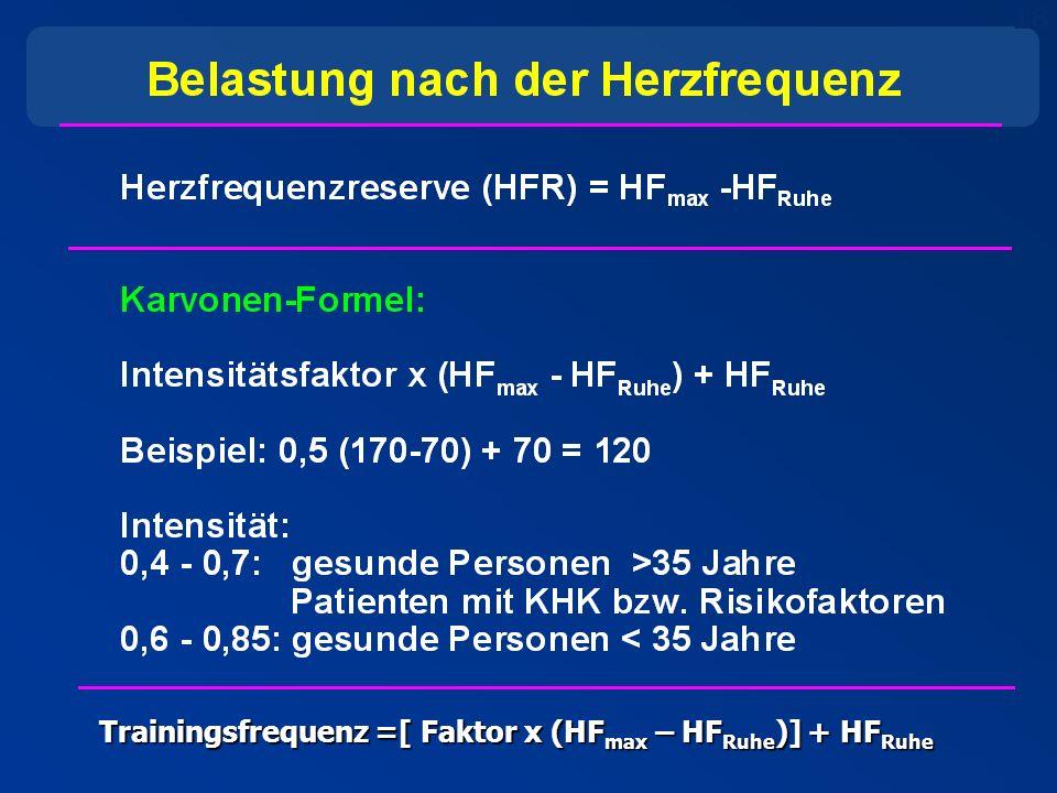 18 Trainingsfrequenz =[ Faktor x (HF max – HF Ruhe )] + HF Ruhe