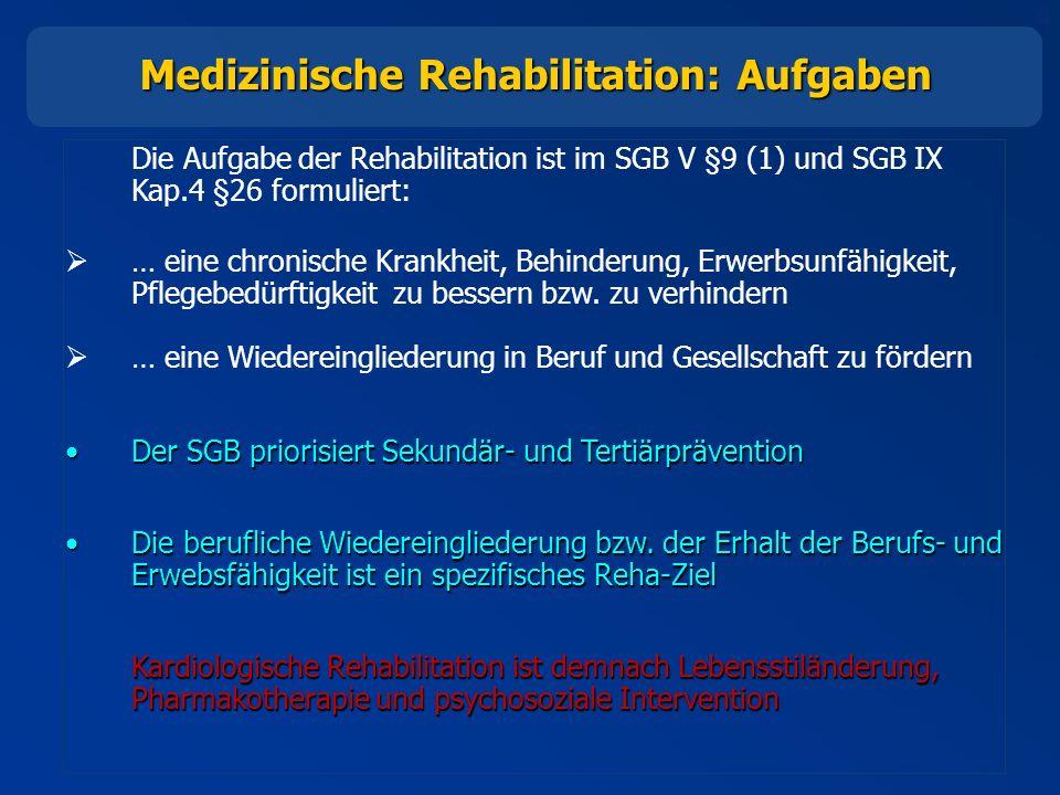 4 Die Aufgabe der Rehabilitation ist im SGB V §9 (1) und SGB IX Kap.4 §26 formuliert: … eine chronische Krankheit, Behinderung, Erwerbsunfähigkeit, Pflegebedürftigkeit zu bessern bzw.