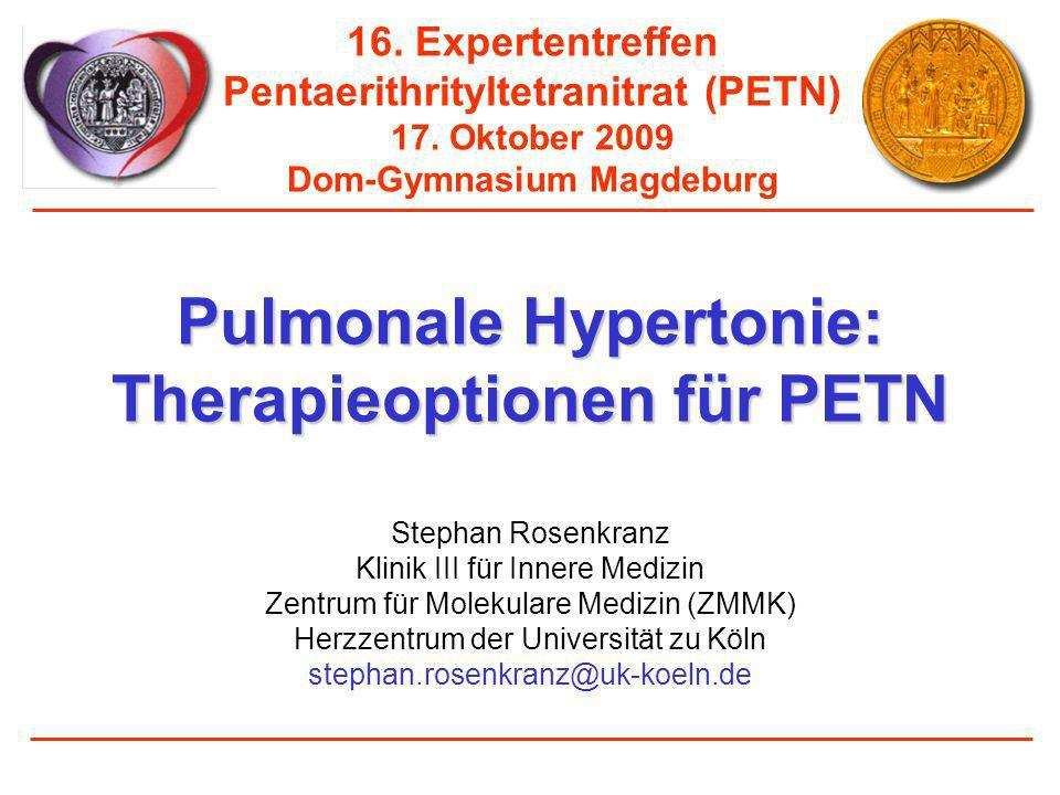 Akuteffekte von PETN (80 mg) auf die pulmonale Hämodynamik bei pulmonal venöser Hypertonie Herz-Zeit-Volumen (HZV), l/min vor und nach PETN-Gabe (4-5h) 3 3,1 3,2 3,3 3,4 3,5 HZV (Liter/min) BaselinePETN 4-5 h Rosenkranz-S, Erdmann-E (unpublished data)