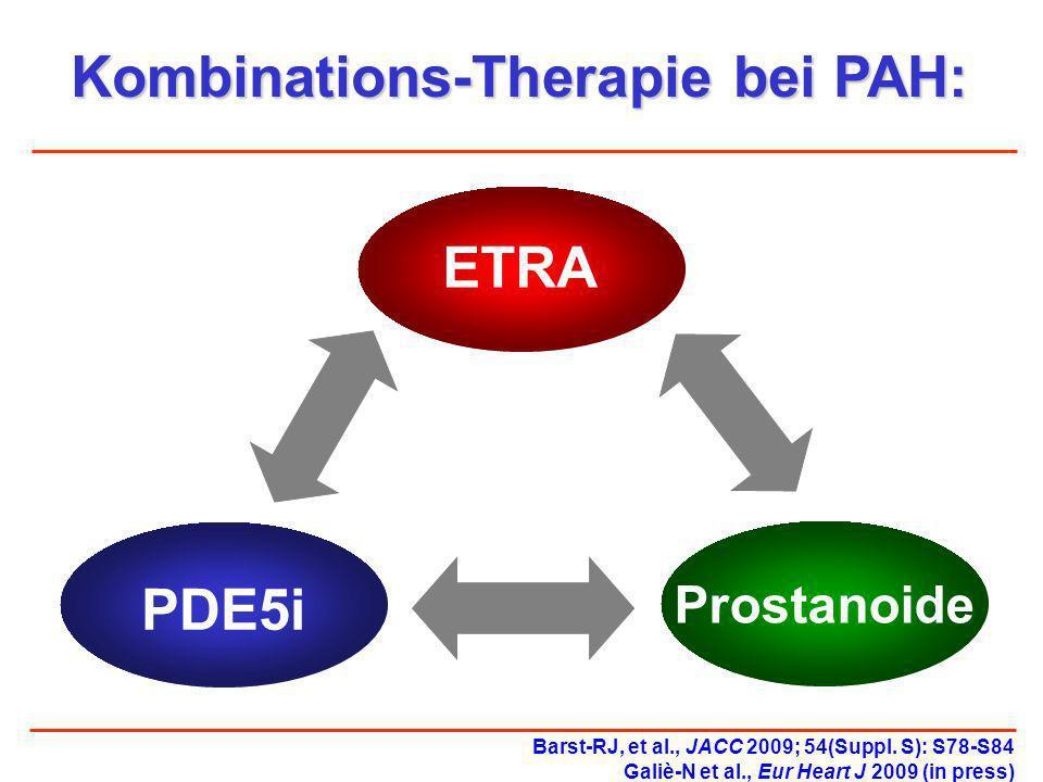 Kombinations-Therapie bei PAH: ETRA PDE5i Prostanoide Barst-RJ, et al., JACC 2009; 54(Suppl. S): S78-S84 Galiè-N et al., Eur Heart J 2009 (in press)