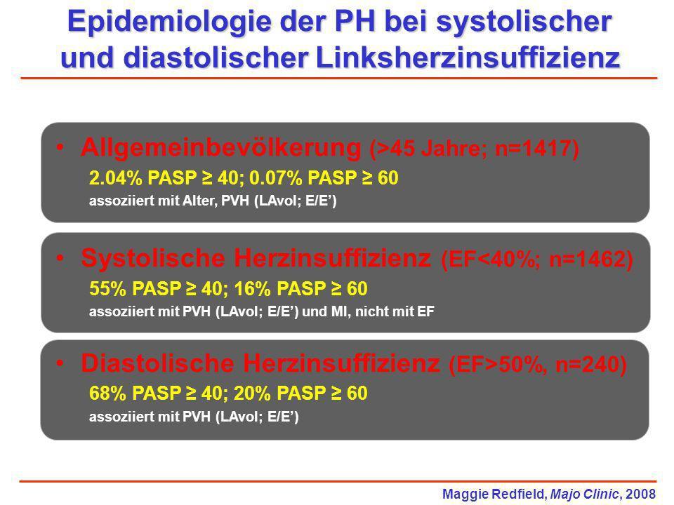 Epidemiologie der PH bei systolischer und diastolischer Linksherzinsuffizienz Allgemeinbevölkerung (>45 Jahre; n=1417) 2.04% PASP 40; 0.07% PASP 60 as