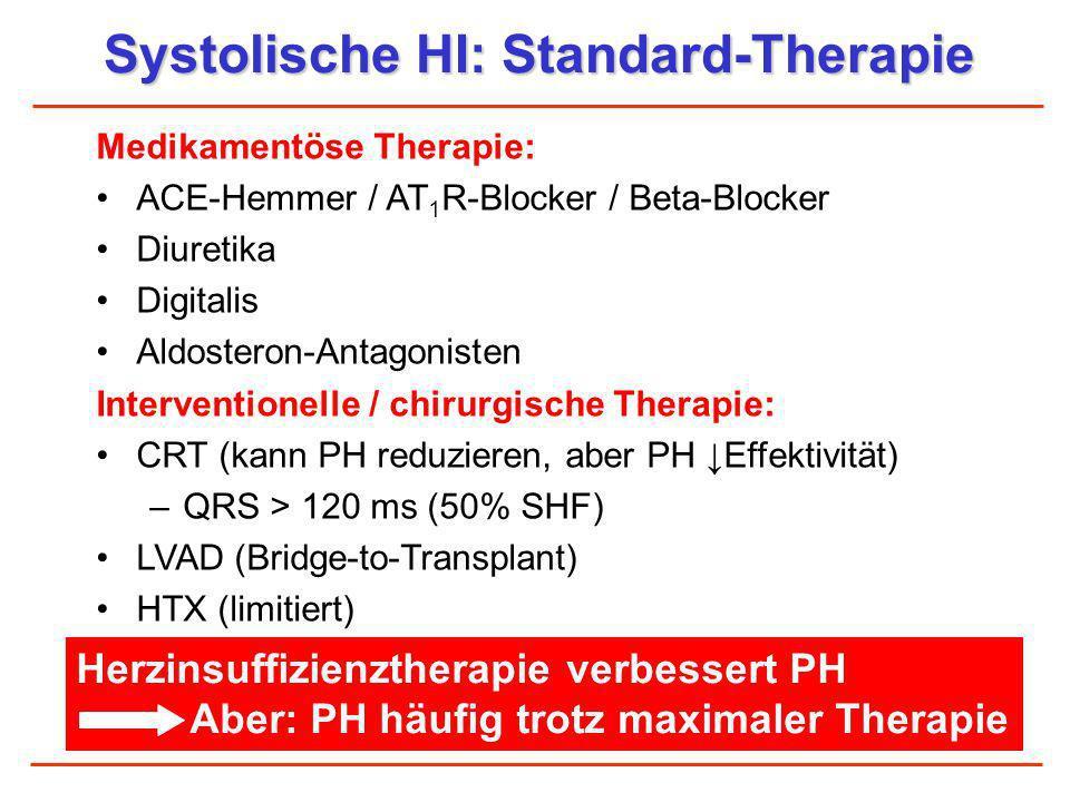 Systolische HI: Standard-Therapie Medikamentöse Therapie: ACE-Hemmer / AT 1 R-Blocker / Beta-Blocker Diuretika Digitalis Aldosteron-Antagonisten Inter