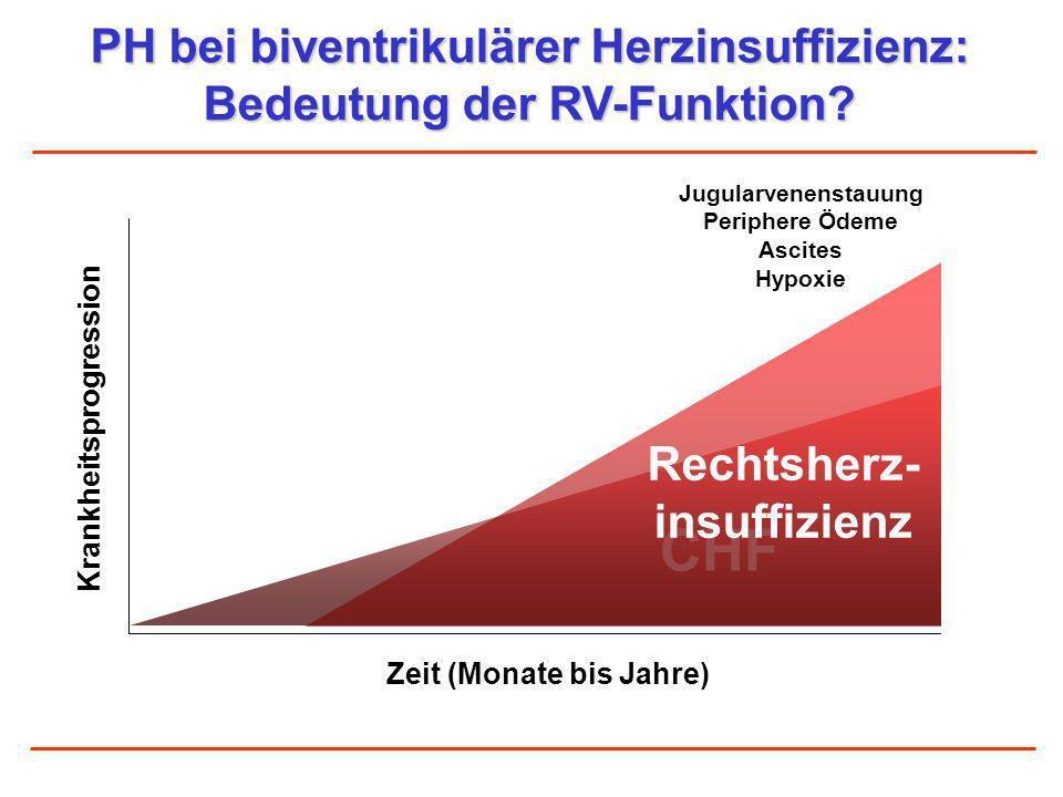 PH bei biventrikulärer Herzinsuffizienz: Bedeutung der RV-Funktion? Zeit (Monate bis Jahre) CHF Rechtsherz- insuffizienz Krankheitsprogression Jugular