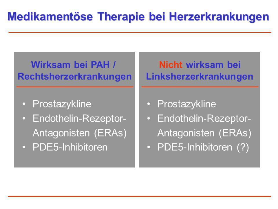 Prostazykline Endothelin-Rezeptor- Antagonisten (ERAs) PDE5-Inhibitoren Medikamentöse Therapie bei Herzerkrankungen Wirksam bei PAH / Rechtsherzerkran