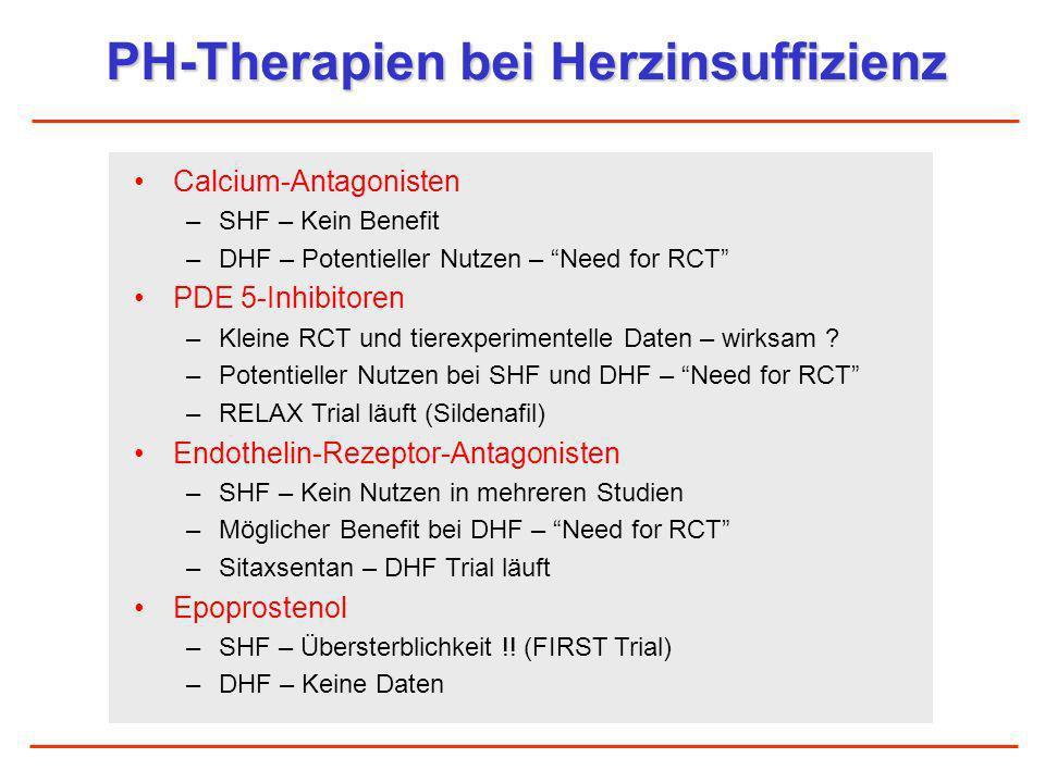PH-Therapien bei Herzinsuffizienz Calcium-Antagonisten –SHF – Kein Benefit –DHF – Potentieller Nutzen – Need for RCT PDE 5-Inhibitoren –Kleine RCT und