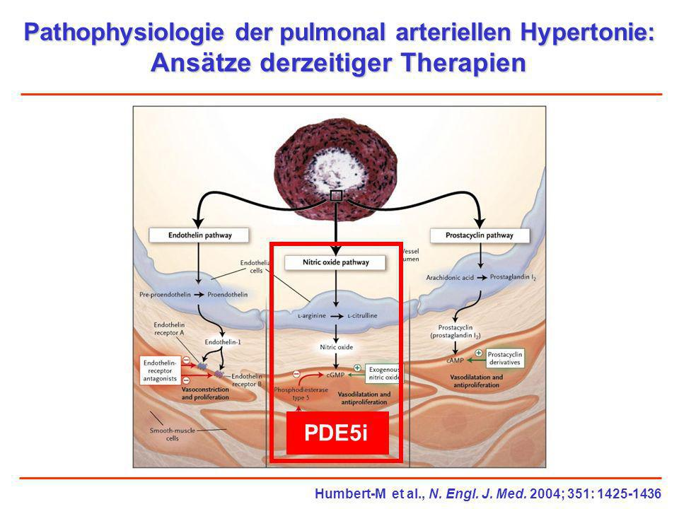 Pathophysiologie der pulmonal arteriellen Hypertonie: Ansätze derzeitiger Therapien PDE5i Humbert-M et al., N. Engl. J. Med. 2004; 351: 1425-1436