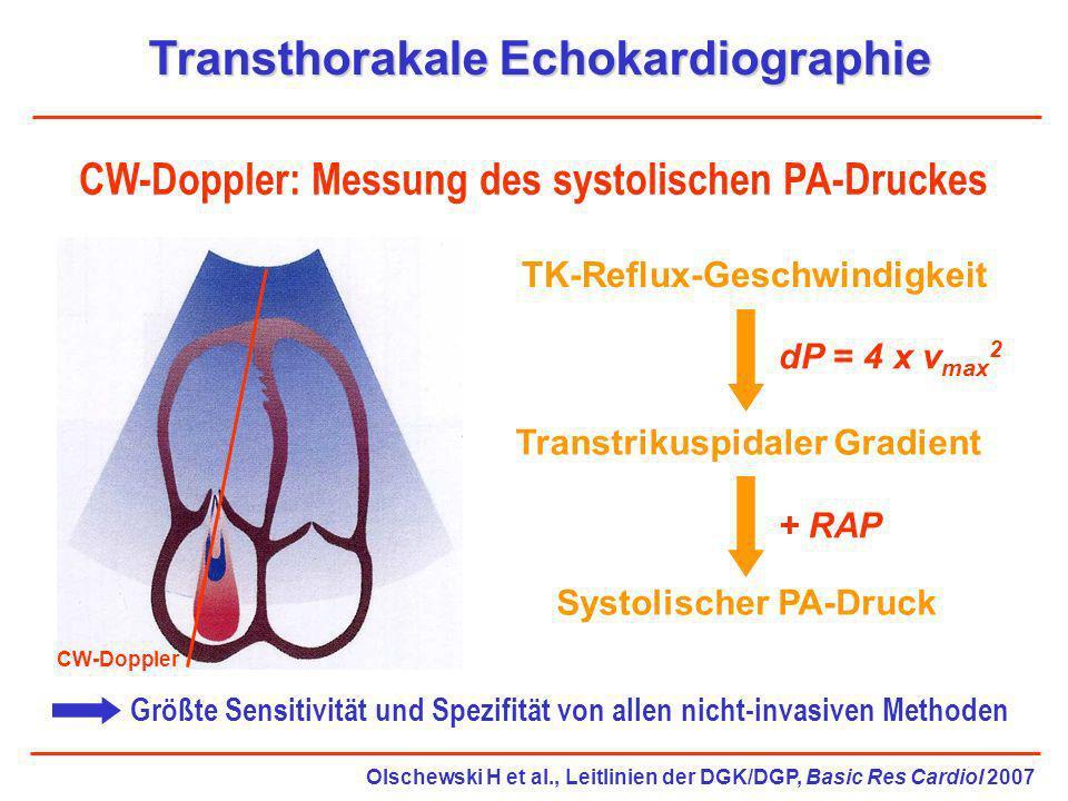 Transthorakale Echokardiographie CW-Doppler: Messung des systolischen PA-Druckes Größte Sensitivität und Spezifität von allen nicht-invasiven Methoden