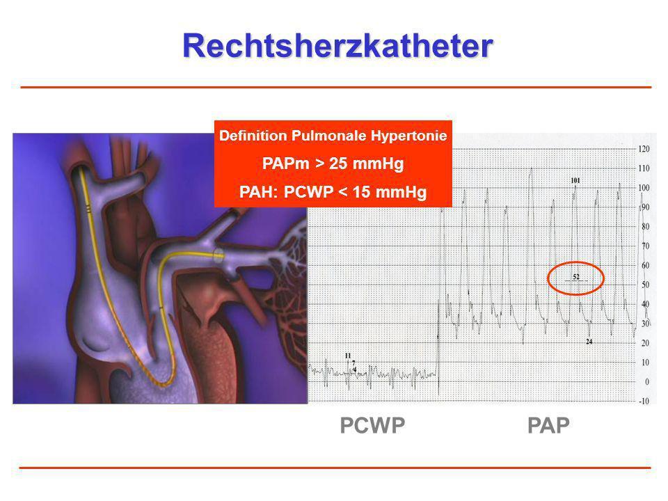 Transthorakale Echokardiographie CW-Doppler: Messung des systolischen PA-Druckes Größte Sensitivität und Spezifität von allen nicht-invasiven Methoden CW-Doppler Olschewski H et al., Leitlinien der DGK/DGP, Basic Res Cardiol 2007 TK-Reflux-Geschwindigkeit Transtrikuspidaler Gradient Systolischer PA-Druck + RAP dP = 4 x v max 2