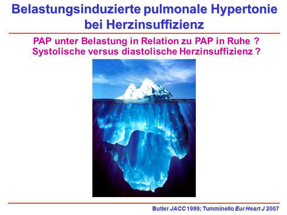 Belastungsinduzierte pulmonale Hypertonie bei Herzinsuffizienz Butler JACC 1999; Tumminello Eur Heart J 2007 Systolische versus diastolische Herzinsuf