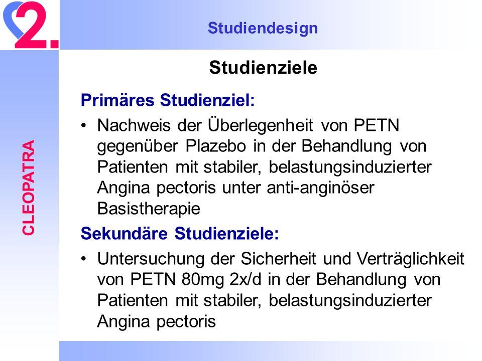 Studiendesign CLEOPATRA Studienziele Primäres Studienziel: Nachweis der Überlegenheit von PETN gegenüber Plazebo in der Behandlung von Patienten mit s