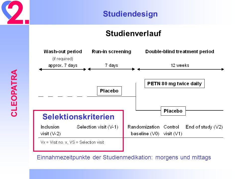Studiendesign CLEOPATRA Studienverlauf Einnahmezeitpunkte der Studienmedikation: morgens und mittags Selektionskriterien