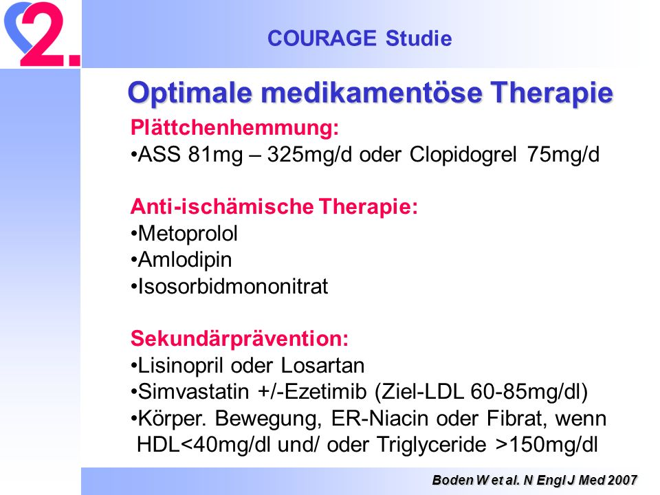 COURAGE Studie Boden W et al. N Engl J Med 2007 Optimale medikamentöse Therapie Plättchenhemmung: ASS 81mg – 325mg/d oder Clopidogrel 75mg/d Anti-isch