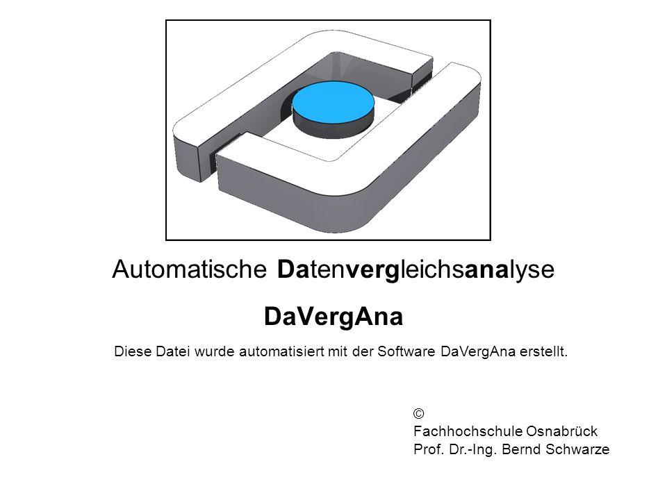 Automatische Datenvergleichsanalyse DaVergAna Diese Datei wurde automatisiert mit der Software DaVergAna erstellt. © Fachhochschule Osnabrück Prof. Dr