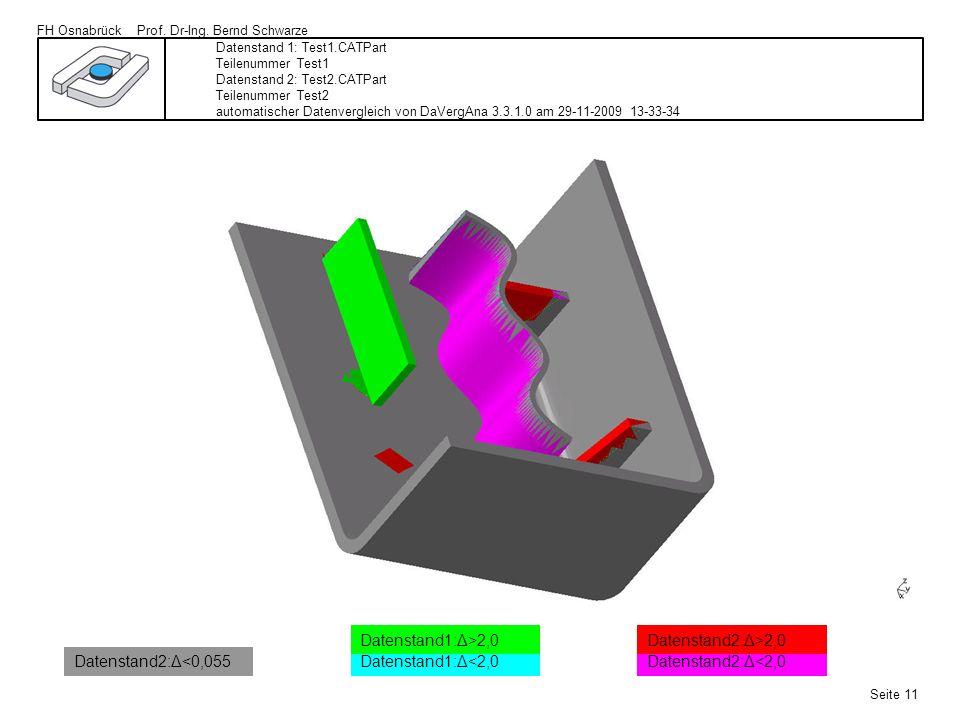 FH Osnabrück Prof. Dr-Ing. Bernd Schwarze Seite 11 Datenstand 1: Test1.CATPart Teilenummer Test1 Datenstand 2: Test2.CATPart Teilenummer Test2 automat