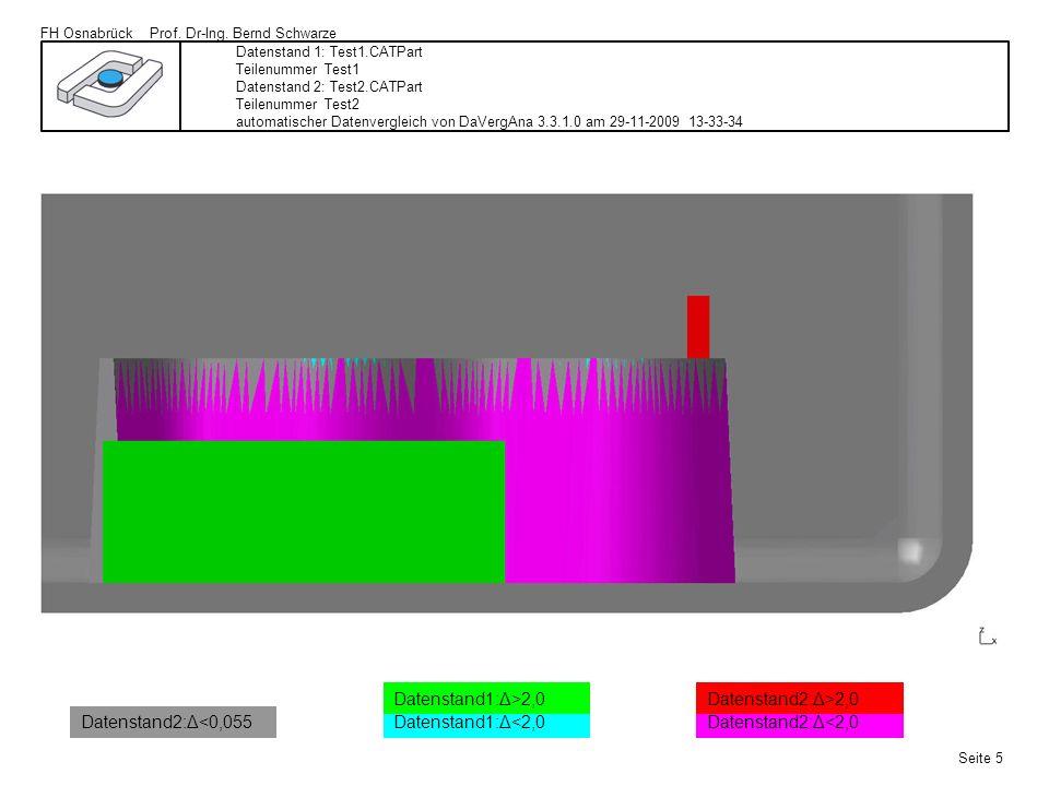 FH Osnabrück Prof. Dr-Ing. Bernd Schwarze Seite 5 Datenstand 1: Test1.CATPart Teilenummer Test1 Datenstand 2: Test2.CATPart Teilenummer Test2 automati