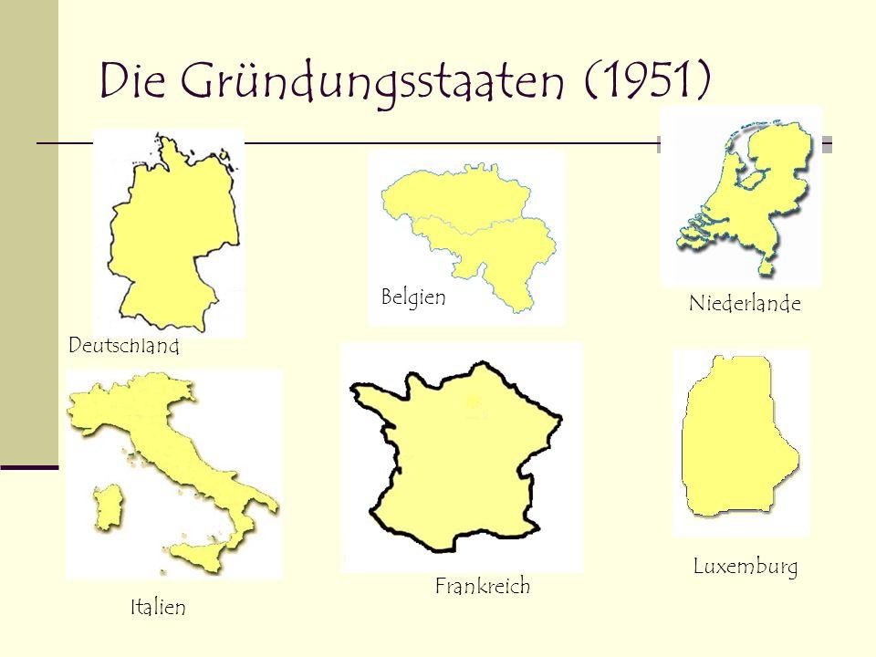 EWG (1957) 1957 bilden die Gründungs-mitglieder die Europäische Wirtschaftsgemeinschaft (EWG) Sowie die Europäische Atomgemeinschaft (Euratom)