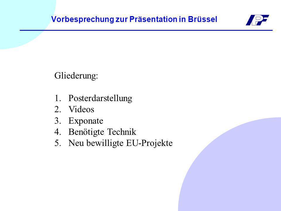 Vorbesprechung zur Präsentation in Brüssel Gliederung: 1.Posterdarstellung 2.Videos 3.Exponate 4.Benötigte Technik 5.Neu bewilligte EU-Projekte