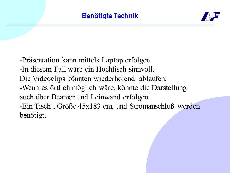 Benötigte Technik -Präsentation kann mittels Laptop erfolgen.