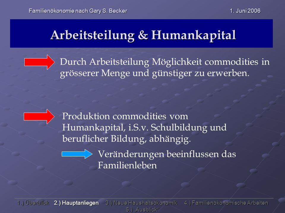Arbeitsteilung & Humankapital Durch Arbeitsteilung Möglichkeit commodities in grösserer Menge und günstiger zu erwerben. Produktion commodities vom Hu
