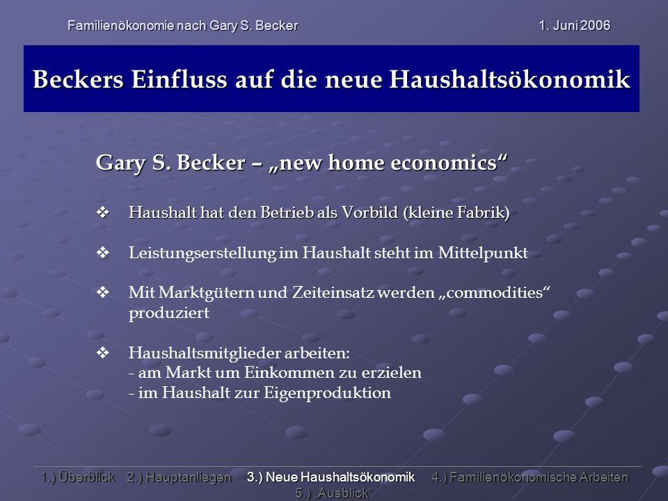 Beckers Einfluss auf die neue Haushaltsökonomik Gary S. Becker – new home economics Haushalt hat den Betrieb als Vorbild (kleine Fabrik) Haushalt hat