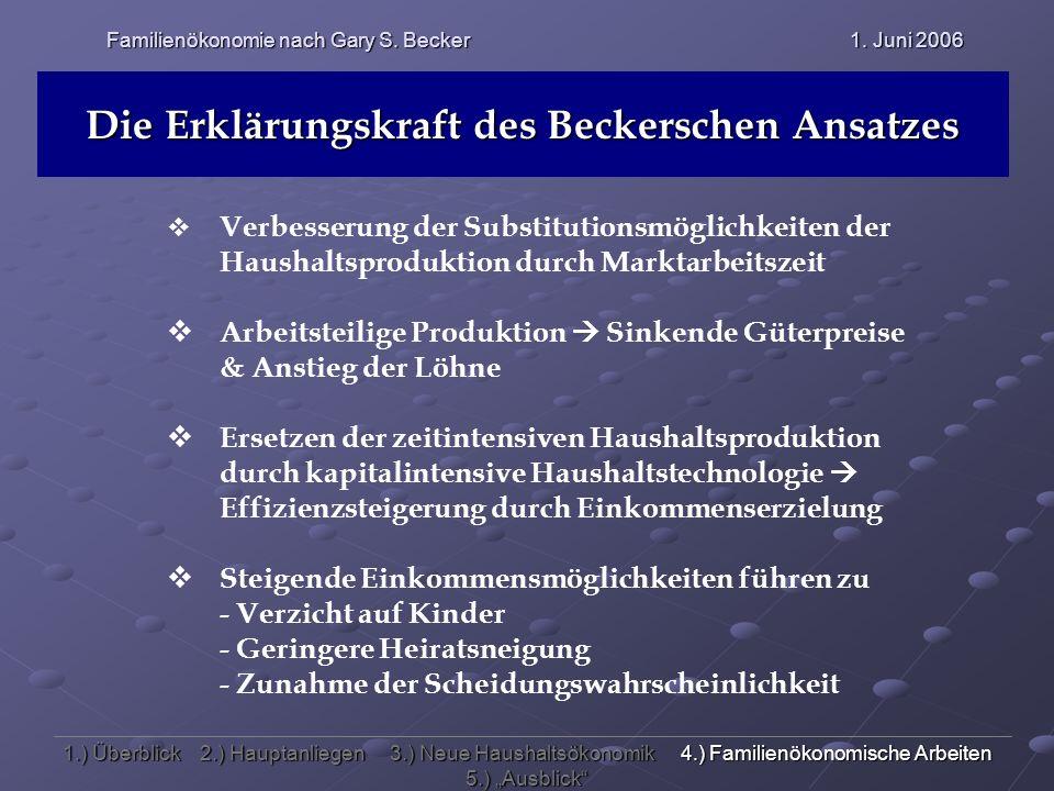 Familienökonomie nach Gary S. Becker 1. Juni 2006 Die Erklärungskraft des Beckerschen Ansatzes Verbesserung der Substitutionsmöglichkeiten der Haushal