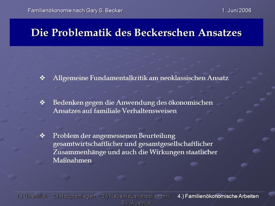 Familienökonomie nach Gary S. Becker 1. Juni 2006 Die Problematik des Beckerschen Ansatzes Allgemeine Fundamentalkritik am neoklassischen Ansatz Beden